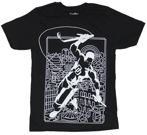 Daredevil (Marvel Comics) Mens T-Shirt - White lined Daredevil Above City Box