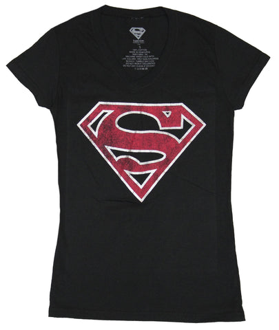 Superman (DC Comics) Girls Juniors T-Shirt - Red Distressed Glitter Edge Logo