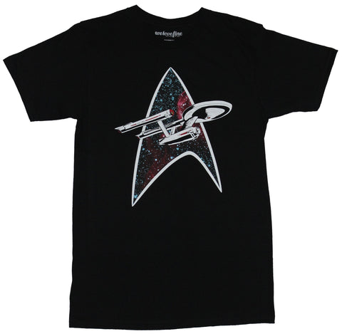 Star Trek Mens T-Shirt - Enterprise Flying through Space Filed Starfleet Logo