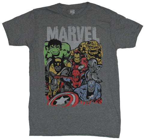 Marvel Comics Mens T-Shirt - Big Group simple Style in Front of Gray Marvel