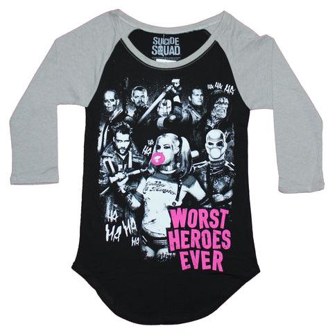 Suicide Squad Girls Juniors Ragland  T-Shirt - Worst Heroes Ever Movie Character Group