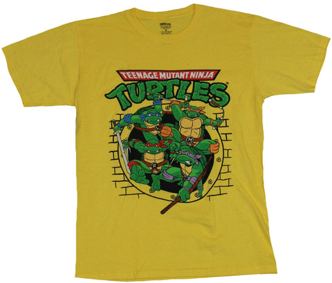Teenage Mutant Ninja Turtles TMNT Mens T-Shirt - Cartoon Sewer Pipe Attack