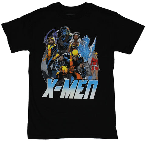 X-men (Marvel Comics) Mens T-Shirt - Blue Yellow Group With Ice Over Blue X-men