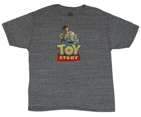 Toy Story Mens T-Shirt - Buzz and Woody Over Logo Image