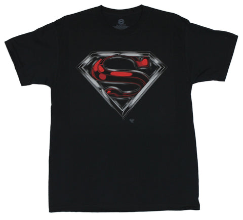 Superman (DC Comics) Mens T-Shirt  - Classic Red and Silver Swirled Logo