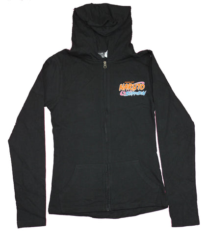Naruto Shippuden Girls Juniors Hoodie  - Sasuke Battling Orange Name Splash