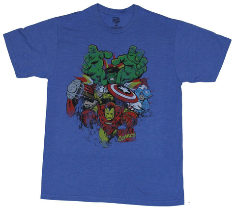 The Avengers (Marvel Comics) Mens T-Shirt - Rushing Heroes 70s lead by Iron Man