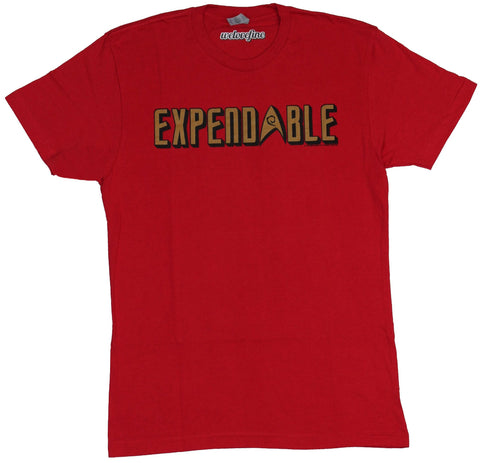 Star Trek Mens T-Shirt - Expendable Red Shirt Gold Logo Image