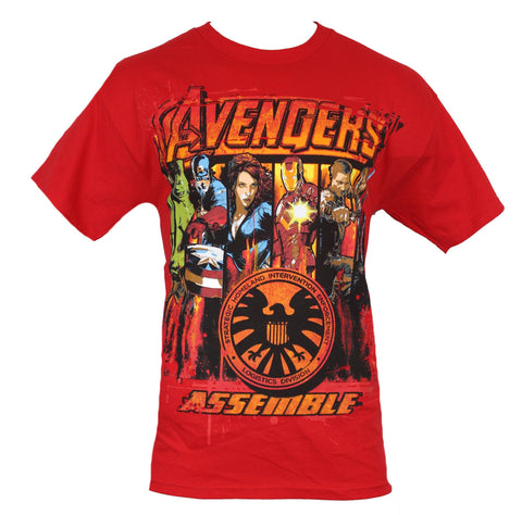 The Avengers (Marvel Comics) Mens T-Shirt - Aseemble 6 Hero Swath w/ Shield Logo