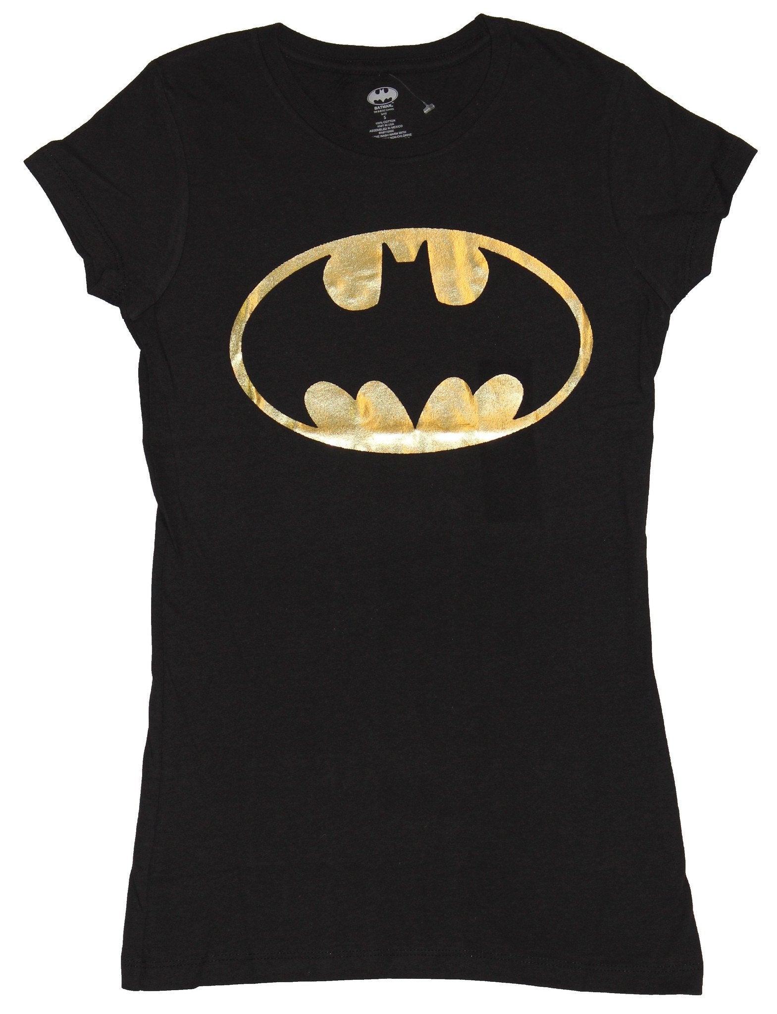 Batman (DC Comics) Girls Juniors T-Shirt - Gold Foil Oval Style Batman Logo