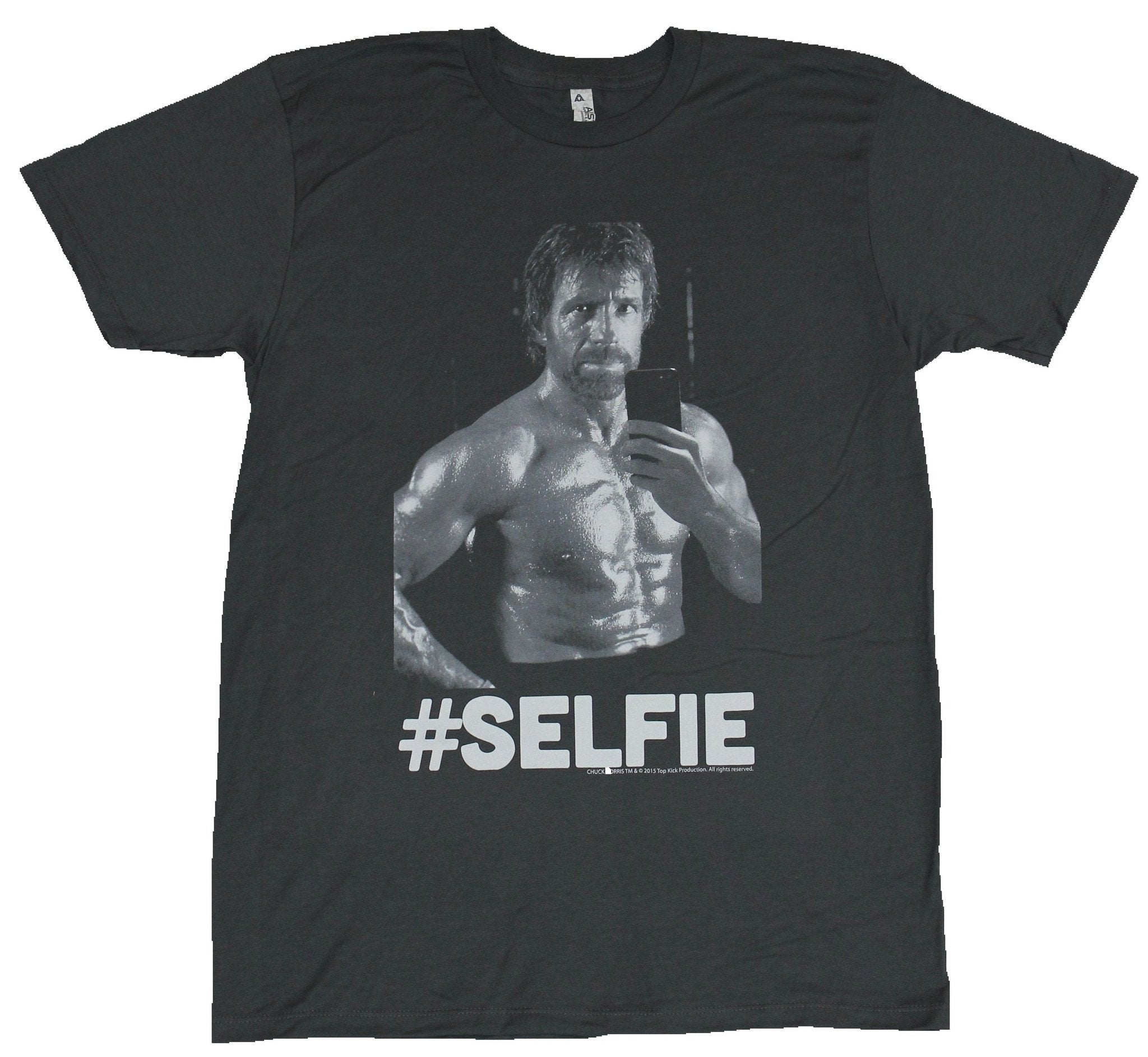 Chuck Norris Mens T-Shirt -  #Selfie Battle Ready Chuck Image