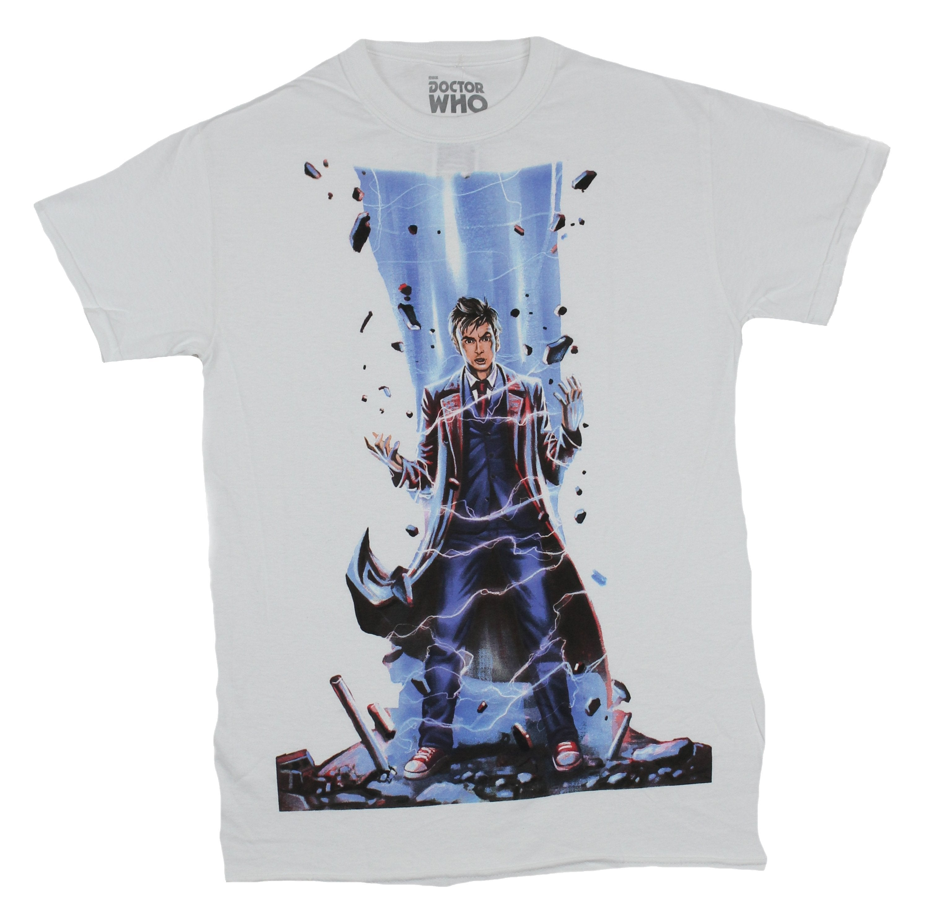 Doctor Who Mens T-Shirt - Electrified Painting of the 12th Doctor Image