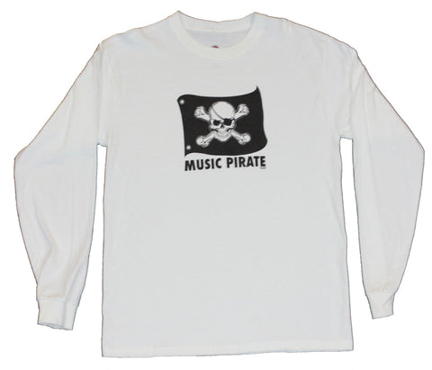 Music Pirate Mens Long Sleeve T-Shirt  - Jolly Roger Flag [Apparel]