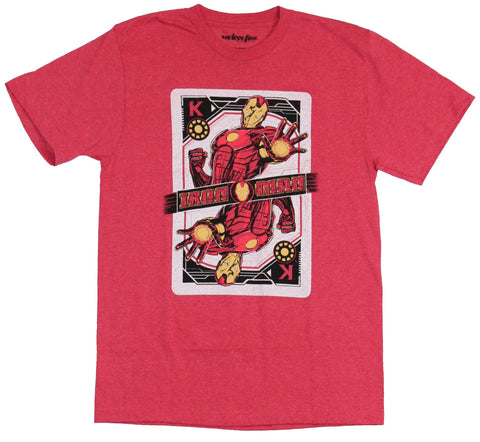 Iron Man (Marvel Comics) Mens T-Shirt - King Playing Card Hand Out Image