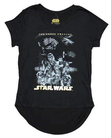 Star Wars Girls Juniors T-Shirt - Force Awakens Cast Image Foil Logo