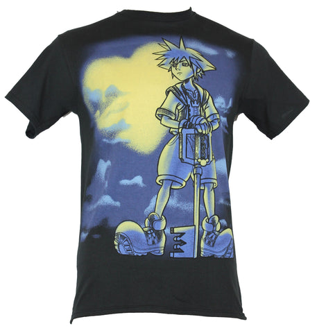 Kingdom Hearts Mens T-Shirt - Sora Heroic Image In Front OF A Heart Moon - Inmyparentsbasement.com