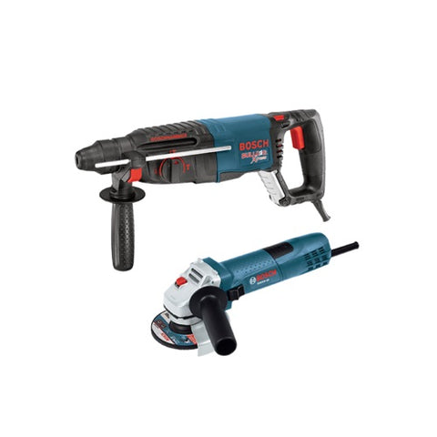 "Bosch 11255VSR-GWS8 1"" SDS-Plus Bulldog Xtreme Rotary Hammer with 4.5"" Small Angle Grinder"