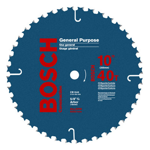 "Bosch CB1040 10"" 40T, ATB, 13o Hook Angle, General Purpose Blade"