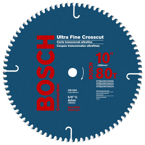 "Bosch CB1080 10"" 80T ATB Crosscutting Saw Blade with 5/8-Inch Arbor"