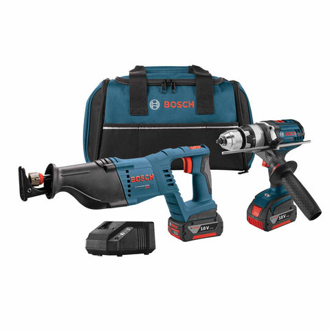 "Bosch CLPK203-181 18V 2-Tool 1/2"" Brute Tough Hammer Drill Driver, Reciprocating Saw Kit"