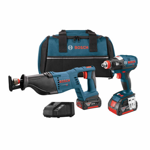 "Bosch CLPK204-181 18V 2-Tool 1/4"" - 1/2"" Impact Driver, Reciprocating Saw Kit"