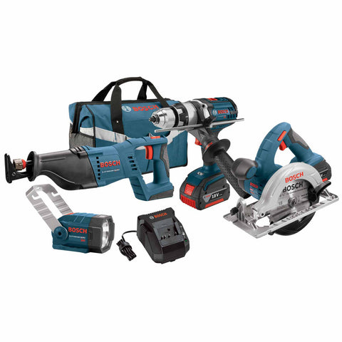 "Bosch CLPK402-181 18V 4-Tool 1/2"" Hammer Drill Driver, Reciprocating Saw, Circular Saw, Flashlight"