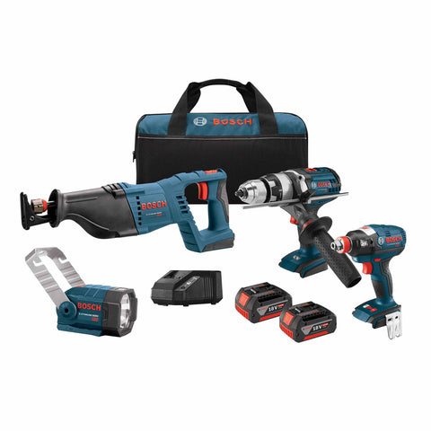 "Bosch CLPK414-181 18V 1/2"" - 1/4"" Impact, 1/2"" Hammer Drill Driver, Recip Saw, Flashlight Kit"