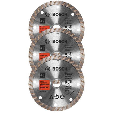 "Bosch DB4542SB3 3-Pc 4-1/2"" Standard Turbo Rim Diamond Blade for Smooth Cut"
