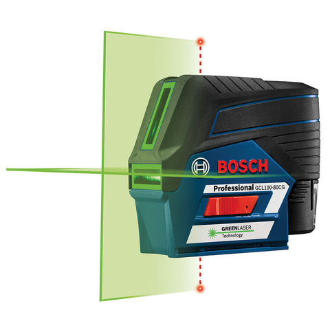 Bosch GCL100-80CG 12V Max Connected Green-Beam Cross-Line Laser w/Plumb Points