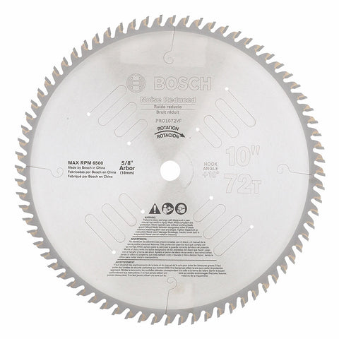 "Bosch PRO1072VF 10"" 72 Tooth Noise/Vibration-Reduced Circular Saw Blade"