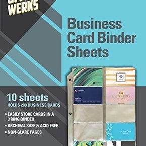 Business Card Sleeves for 3 Ring Binders, Plastic Card Holder Sheets, 10 Pack - 20 Cards Per Sheet