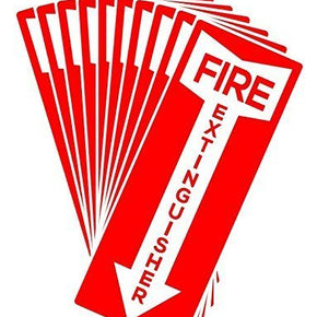 "Fire Extinguisher Sticker, 11"" x 4.25"", Self Adhesive, 10 per Pack - RingBinderDepot.com"