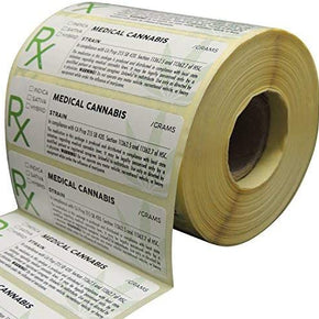 Generic Medical Identification Labels, State Compliant Leaf Stickers, 1000 Labels Per Roll with Large Rx Symbol