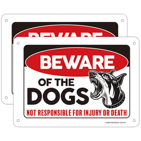 """Beware of Dogs"" Aluminum Signs - Pack of 2 with 8 Screws Included"