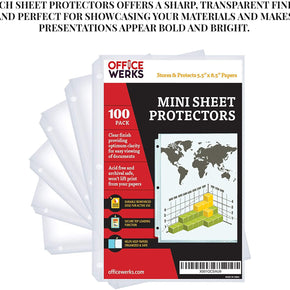 "Heavyweight Clear Mini Sheet Protectors, 5.5"" x 8.5"", Top Load, Reinforced Holes, Acid-Free/Archival Safe - 100 Pack"