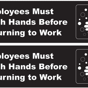Employees Must Wash Hands Sticker, 8.75 inch x 2.5 inch - 2 Pack