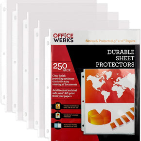 "Clear Sheet Protectors, 8.5"" x 11"", Durable, Top Load, Reinforced Holes, Acid-Free/Archival Safe -250 Pack"