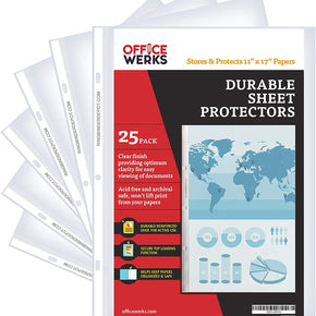 11 x 17 Sheet Protectors – Portrait View – Protect, Store and Display 11X17 Paper, Photographs, Prints, and Documents (Pack of 25)