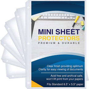 "Heavyweight Clear Mini Sheet Protectors, 5.5"" x 8.5"", Top Load, Reinforced Holes, Acid-Free/Archival Safe - 200 Pack"
