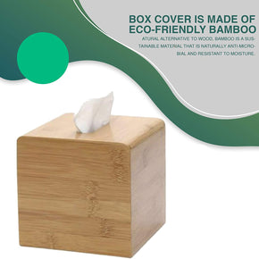 Square Bamboo Tissue Box Cover - Water Resistant - 16 X 14 X 14 cm