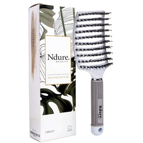 Curved Vented Boar Bristle Styling Hair Brush, Anti-static Detangler, Thick Curly Hair, Wet or Dry Use - 1 Pack, White