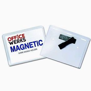"Magnetic Name Badge Holder Kit, 4"" x 3"" Clear Top Loading - 6 Pack"