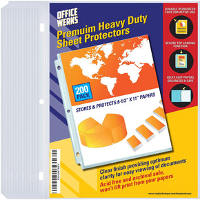 "Heavy Duty Clear Sheet Protectors, 8.5"" x 11"", 200 Pack, Top Load"