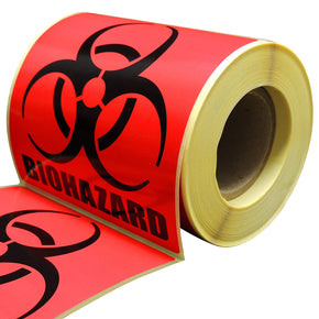 "Biohazard Warning Label, 4"" x 4"", 250 Labels Per Roll, Coated Paper, Universal Biohazard Symbol, Self-Adhesive"