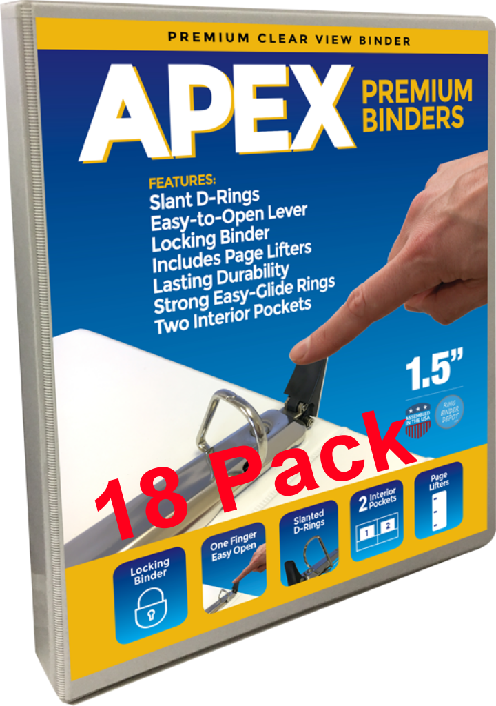 Apex Premium 3 Ring Binders, 1.5 Inch, White, Clear View Slant-D Rings, Pockets, 18 Pack - RingBinderDepot.com