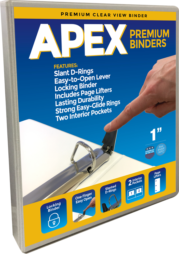 Apex Premium 3 Ring Binders, 1 Inch, White, Clear View with Easy Open Slant-D Rings, Pockets - RingBinderDepot.com