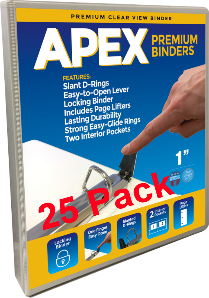 Apex Premium 3 Ring Binders, 1 Inch, White, Clear View Slant-D Rings, Pockets, 25 pack - RingBinderDepot.com