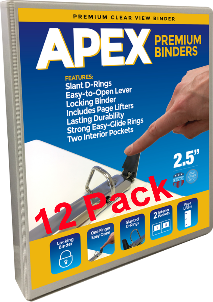 Apex Premium 3 Ring Binders, 2 5 Inch Easy Open Slant-D Rings, White, Clear  View, Pockets, 12 Pack