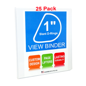 3 Ring Binder, 1 Inch, White, Slant D-Rings, Clear View, Pockets, 25 Pack - RingBinderDepot.com