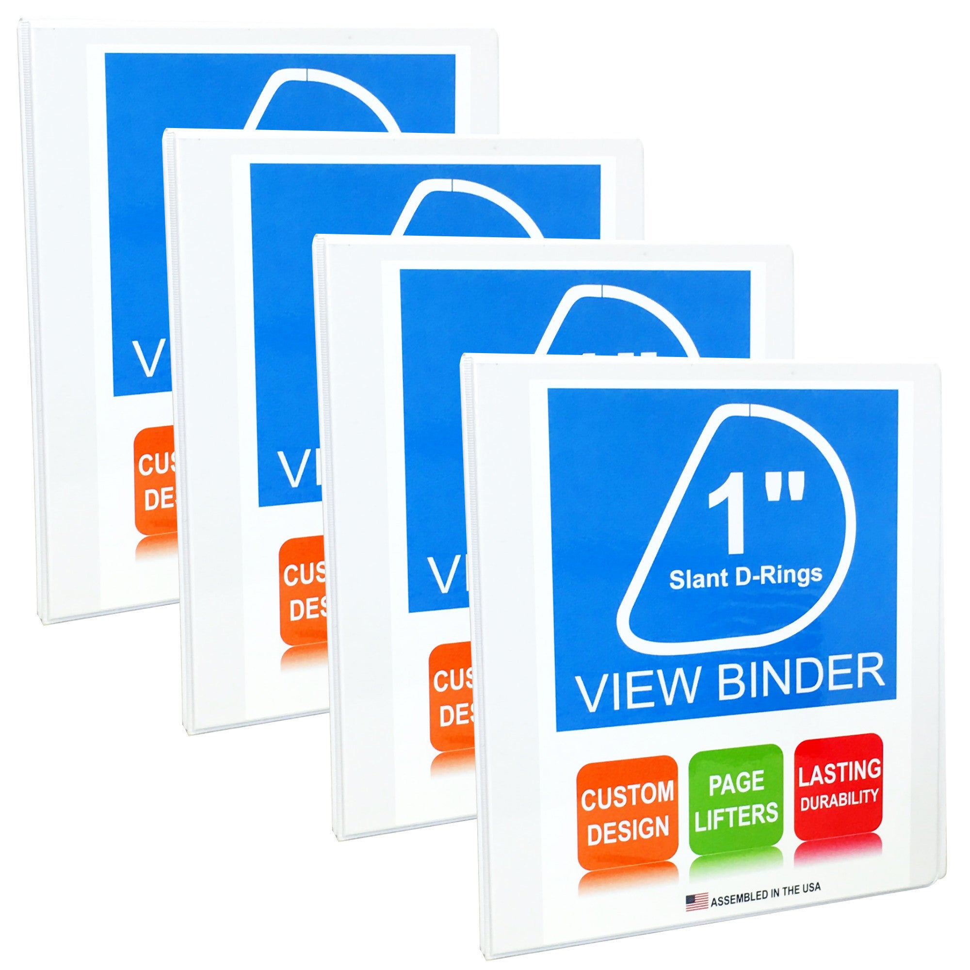 3 Ring Binder, 1 Inch, White, Slant D-Rings, Clear View, Pockets, 4 Pack - RingBinderDepot.com